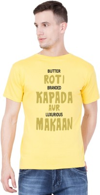 American-Elm Printed, Typography Men Round Neck Yellow T-Shirt