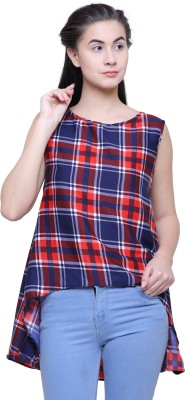 2 Day Casual Sleeveless Checkered Women's Multicolor Top