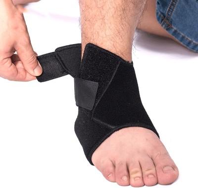 PE Core Sleeve Bandage Adjustable Straps Advanced Socks Wrap Running Gym Brace Cap Ankle Support (Free Size, Black)
