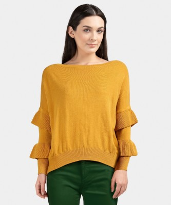 United Colors of Benetton Solid Round Neck Casual Women Yellow Sweater at flipkart