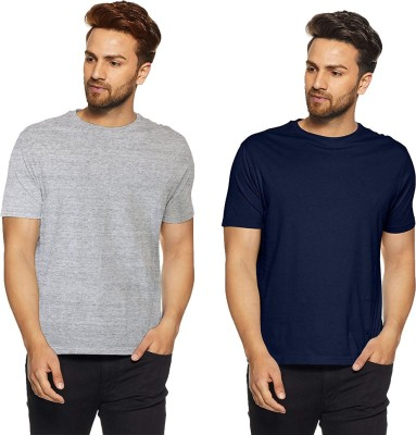 Icable Solid Men Round Neck Dark Blue, Grey T-Shirt