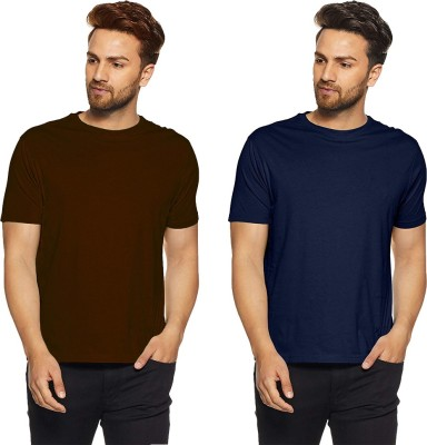 iShoppe Solid Men Round Neck Dark Blue, Brown T-Shirt(Pack of 2)