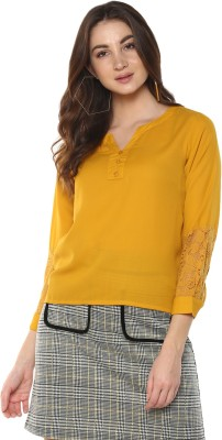 MAYRA Casual Full Sleeve Solid Women Yellow Top