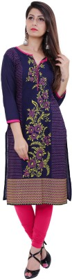 Gujari Casual Floral Print Women Kurti(Dark Blue)