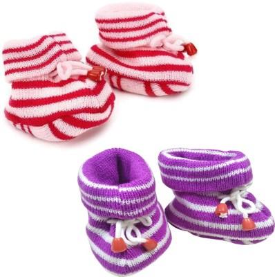 KidBee Booties(Toe to Heel Length - 12 cm, Pink,Purple)