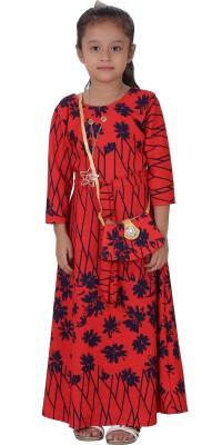 Crazeis Girls Maxi/Full Length Party Dress(Red, Full Sleeve) at flipkart