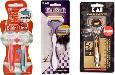 Kai Kamisori 3 Blade Razor with K4 Soft Ease Women Razor & Bikini Razor(Pack of 3)