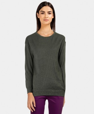 Provogue Solid Round Neck Casual Women Green Sweater