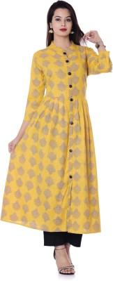 DUENITE Festive & Party Graphic Women Kurti(Yellow)