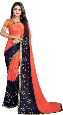 Laheja Self Design Bandhani Poly Silk Saree(Blue, Orange)