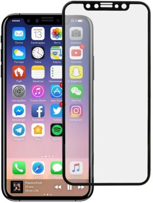 MD ORIGINAL Tempered Glass Guard for Hd+ Crystal Clear Full Screen Coverage for Apple iPhone X - Black(Pack of 1)