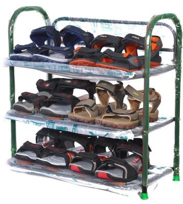 Patelraj Metal Shoe Stand(Black, 3 Shelves)