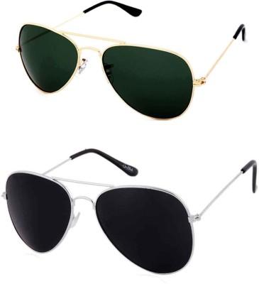 Barbarik Aviator Sunglasses(Black, Green)