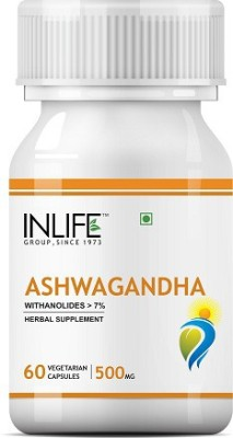 Inlife Natural Ashwagandha 500 mg (60 Veg Capsules)