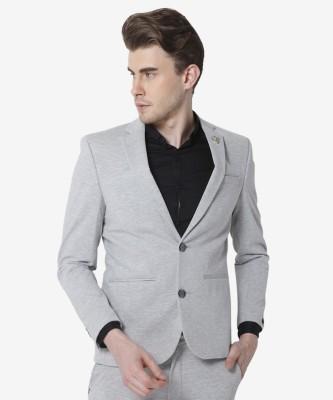 Jack & Jones Solid Single Breasted Casual Men Blazer(Grey) at flipkart