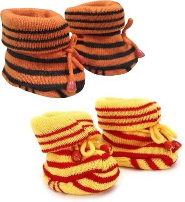 KidBee Booties(Toe to Heel Length - 12 cm, YellowRed,OrangeBlack)