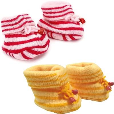 KidBee Booties(Toe to Heel Length - 12 cm, YellowOrange,Pink)