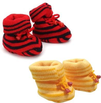 KidBee Booties(Toe to Heel Length - 12 cm, Yellow,Red)