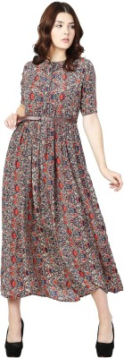 Aayu Women Fit and Flare Multicolor Dress