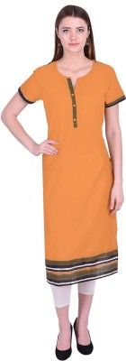 Get Glamr Women Striped Straight Kurta(Orange)