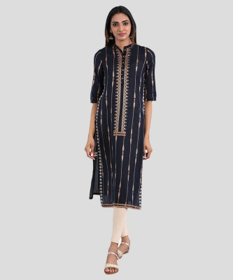 W Women Printed Straight Kurta(Blue)