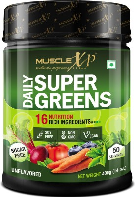 MuscleXP Daily Super Greens with 16 Nutrition Rich Super Foods, Unflavored - 50 Servings Plant-Based Protein(400 g, Unflavored)