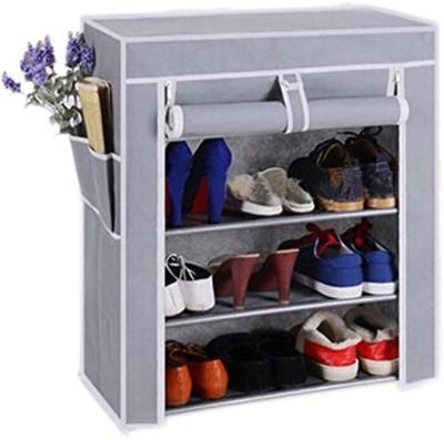Ebee Metal Collapsible Shoe Stand(Grey, 4 Shelves)