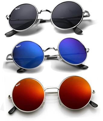 Elligator Round Sunglasses(Black, Blue, Yellow)