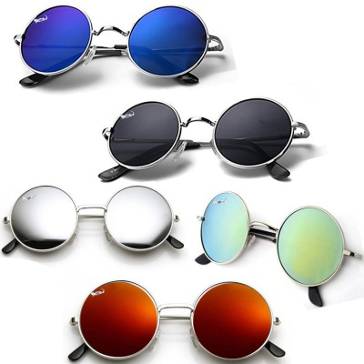 Elligator Round Sunglasses(Silver, Green, Blue, Yellow, Black)