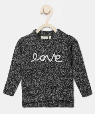 Miss & Chief Self Design Round Neck Casual Girls Black Sweater at flipkart