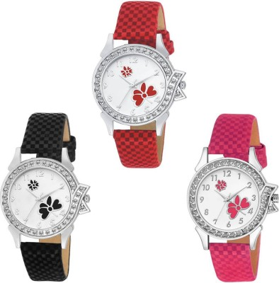 SPLAZOS SPLEDIES-124 Combo Pack 3 Round Diamond Stunned Formal Leather Analog Watch For Girls And Women Watch  - For Women