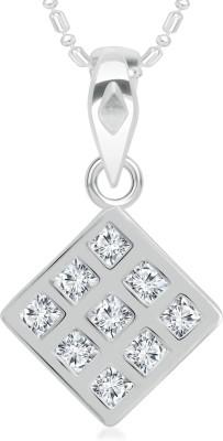 Divastri Square Shape Diamond Studded Rhodium Cubic Zirconia Alloy Pendant