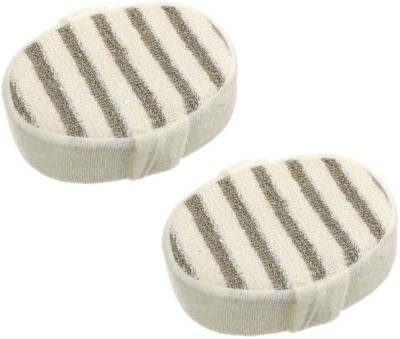 Confidence Set Of 2 Pcs Bath Sponge For Bathing For Men And Women For Casual & Home Use, Cream