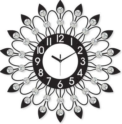 Prateek Exports Analog 46 cm X 6 cm Wall Clock(Black, With Glass) at flipkart