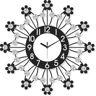 Bon Temps Analog 46 cm X 6 cm Wall Clock(Black, With Glass) at flipkart