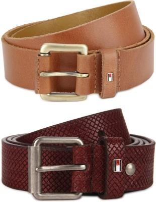 Tommy Hilfiger Men Maroon Genuine Leather Belt Tommy Hilfiger Belts