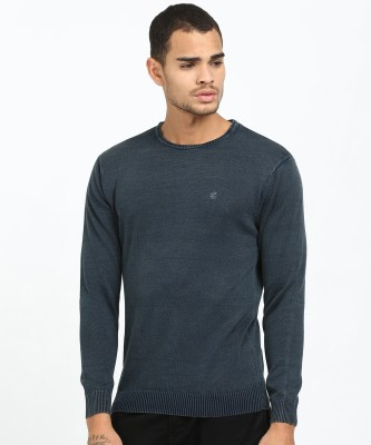 Killer Solid Round Neck Casual Men Blue Sweater
