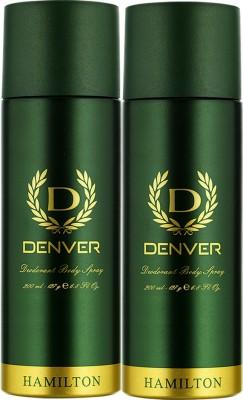 Denver Hamilton Deodorant Body Spray  -  For Men(400 ml, Pack of 2)