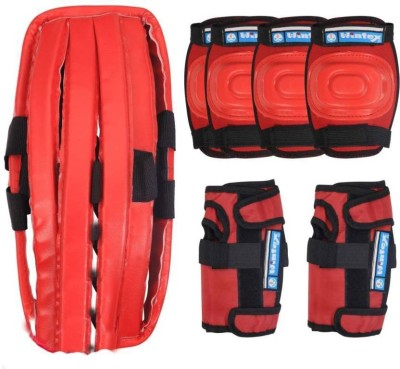 Wintex Protective Skating Guard Kit | Skate + Cycling Protection Set | Multi Sport Gear for Kids Children Age 6-16 Years | Set of 7 Pc | Helmet Elbow Guards Knee caps Hand Gloves 7 in 1 - RED Skating Kit