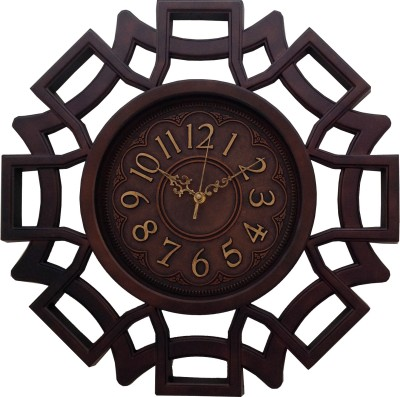 eCraftIndia Analog 46 cm X 46 cm Wall Clock(Brown, With Glass) at flipkart