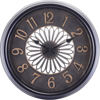 eCraftIndia Analog 53 cm X 6 cm Wall Clock(Brown, With Glass) at flipkart