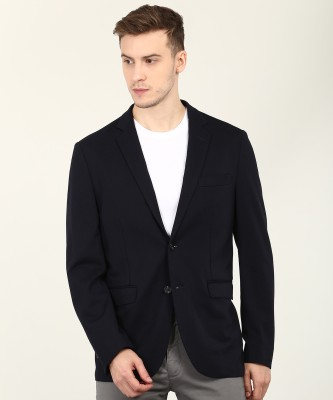 U.S. Polo Assn Solid Single Breasted Casual Men Blazer(Blue) at flipkart