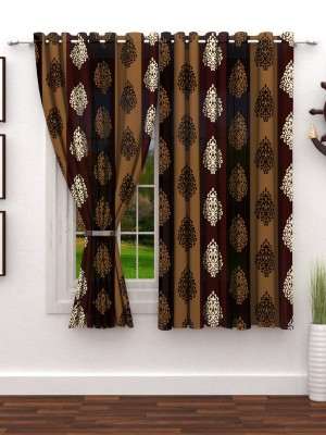 Story@Home 152 cm (5 ft) Polyester Window Curtain (Pack Of 2)(Floral, Brown) at flipkart