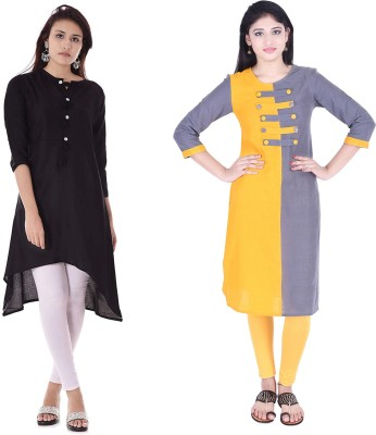 Indiwest Formal Solid Women Kurti(Yellow)