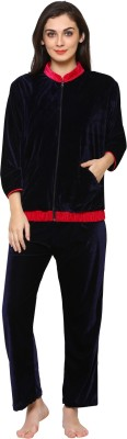 Klamotten Women Solid Dark Blue Night Suit Set