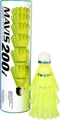 Yonex 200i  Slow, 75, Pack of 6  With BG 65 Badminton String  Multicolor  Nylon Shuttle   Yellow
