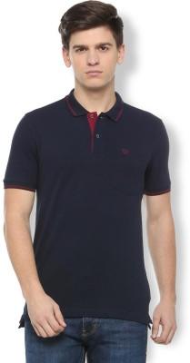 K2Creations Solid Men Polo Neck Dark Blue T-Shirt