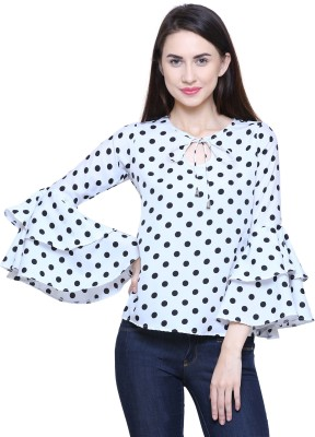 FMC Casual Bell Sleeve Printed Women White, Black Top