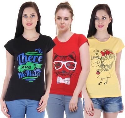 Diaz Casual Cap Sleeve Printed Women Black, Red, Yellow Top