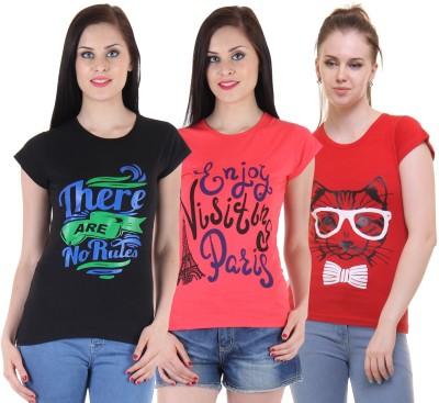 FASHA Casual Half Sleeve Printed Women Black, Pink, Red Top